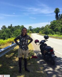 Simon resting in the shade after driving 100 kilometers in the Taman Negara national park in Malaysia